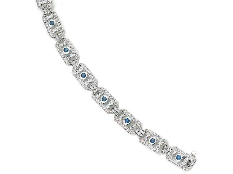 Miller's Fine Jewelry - 14K white gold precious stones Sapphire bracelet (G/SI2, D-3.00ct, S-1.00ct.)