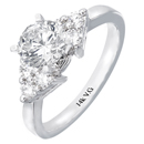 Stylish 14K white gold engagement ring (G/SI2 0.36 ct)