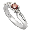 14K White Gold Pink Diamond Comfort Fit Ring (SI2/G, D-0.32ct, PD-0.30ct.)