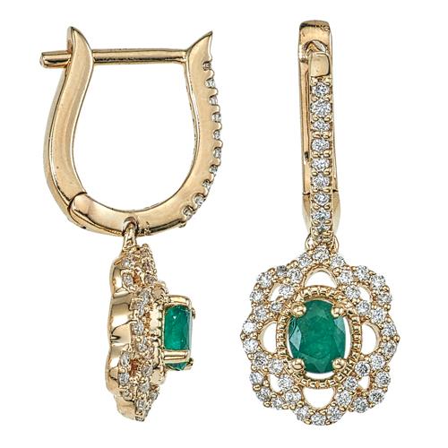 14k Yellow Gold Diamond And Emerald Earrings