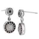 0.20 Ct Black & White Diamond Earrings in 14K White Gold