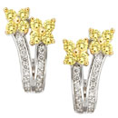 14K Two-Tone and yellow colored diamond earrings (G,enhanced yellow/SI2, SI1, D-0.78ct)
