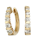 14K Yellow gold pair of diamond hoop earrings (G /SI2,D-1.08ct)