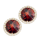 14K Yellow Gold semi precious Garnet pair of earrings (G/SI2,D- 0.50ct, GAR- 10mm).