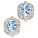 14K White Gold semi precious Blue Topaz pair of earrings (G/SI2, D-0.66ct. BT-6x6mm).