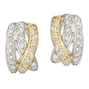 14K two-tone pair of diamond earrings (G /SI2,D-1.00ct)