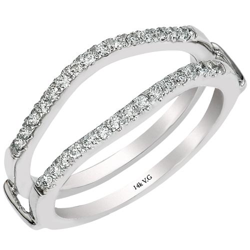 14k White Gold And Diamond Split G Insert Curve Band
