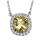 14K white gold Necklace with Cushion center stone (G /SI2, D-0.89ct. CY- 3.31ct.)