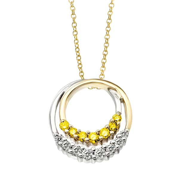 Dore jewelry colored diamonds 14k two tone colored diamond pendant enhanced yellowgsi1si2 080ct mozeypictures Images