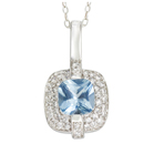 14K White Gold 0.46 Ct Diamond & 8x8 mm Square Blue Topaz Pendant