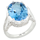 14K White Gold, semi precious Blue Topaz ring for comfort fit (G/SI2, D-1.16ct. BT- 16x12mm).