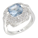 14K White Gold, semi precious Blue Topaz ring  (G/SI2, D-0.50ct. BT- 8x8mm).
