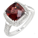 14K White Gold semi precious Garnet Ring (G/SI2, 0.31ct, G-9mm).