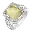 14K White Gold, semi precious yellow quartz ring for comfort fit (G/SI2, D-0.29ct. YQ-11.8/8mm) .