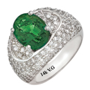 14K White Gold Diamond and Emerald Wedding Ring (G/SI2, D-2.05ct. E-2.31ct).