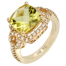 14K Yellow Gold semi precious yellow quartz ring (G/SI2, D-0.55ct. YQ-10x10mm).